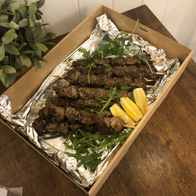 Grilled marinated lamb skewers