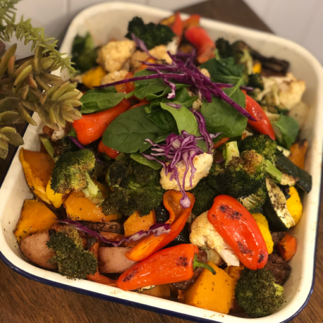Hot roasted vegetables tray